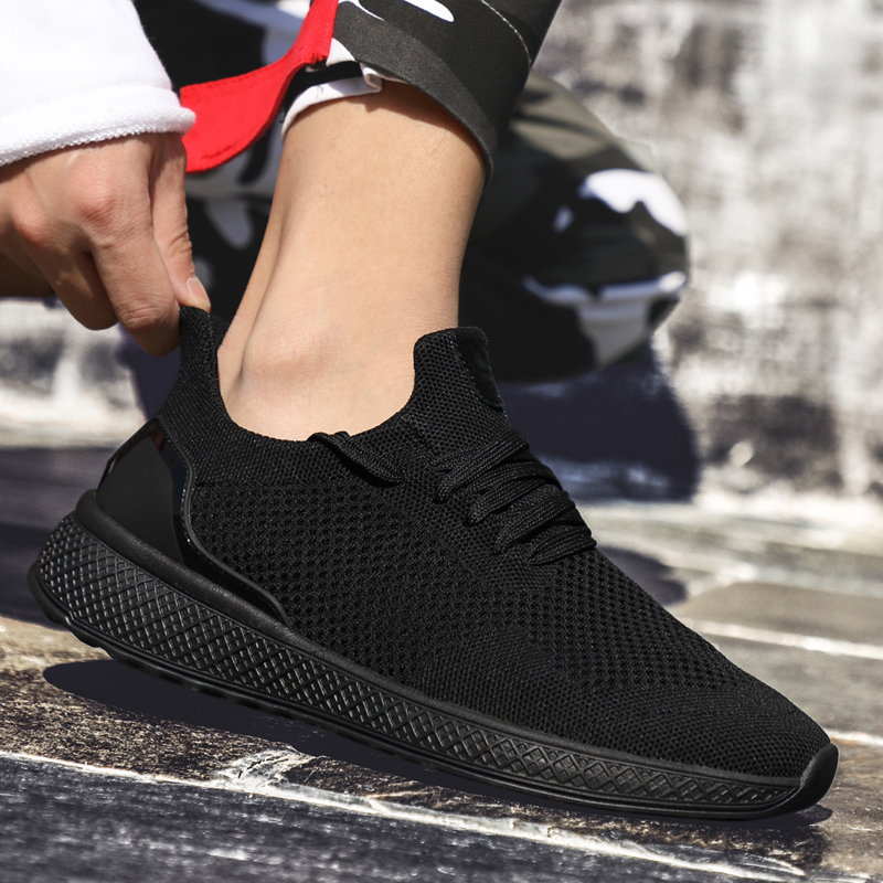 HTB1TggEajDuK1RjSszdq6xGLpXa1 Sneakers Men 2019 Air Mesh Breathable Lace Up Solid Men Trainers Shoes Hot Sale Outdoor Walking Casual Shoes for Men