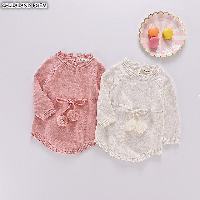 36a78b9ab95e Baby Knitted Clothes Autumn Knit Baby Girls Rompers Long Sleeve ...