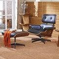 2 xhome Белый 100% Подлинная Натуральной Кожи Современный Классический Орех Фанеры Эймс Кресло и Тахта Eames Chair
