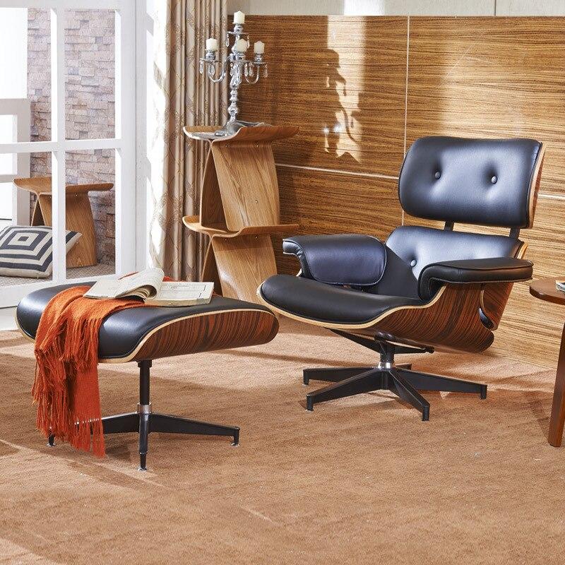 xhome blanco cuero verdadero genuino clsico moderno madera nuez eames silla de saln