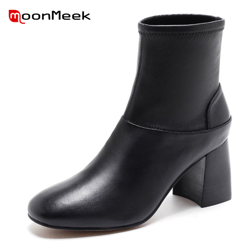 MoonMeek high quality autumn winter classic black ladies boots hot sale pointed toe ankle boots popular genuine leather boots