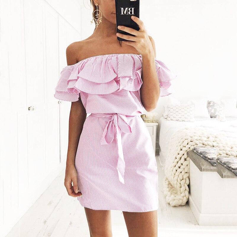 Off hombro Strapless rayas Ruffles Vestido Mujer 2018 verano Sundresses playa Casual Camisa corta Mini vestidos Robe Femme