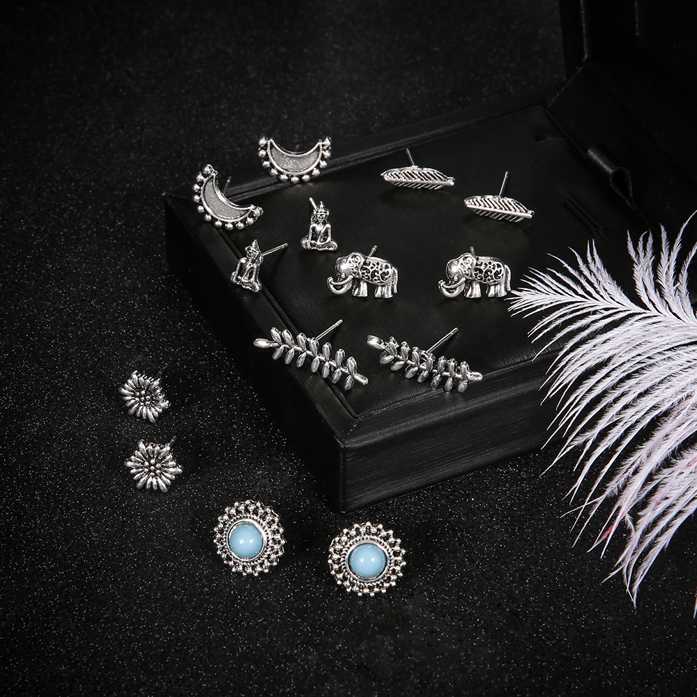And Great Variety Of Designs And Co Full Range Of Specifications And Sizes 2019 Fashion 7 Pairs/set Elephant Moon Buddha Stud Earrings For Women Leaf Feather Stone Charm Boucle D'oreille Party Bridal Jewelry Brinc Famous For High Quality Raw Materials