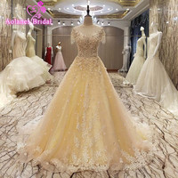 AOLANES Real Photo 2017 A Line Yellow Tulle Lace Appliques Long Evening Dresses Robe De Soiree Court Train Formal Evening Gowns