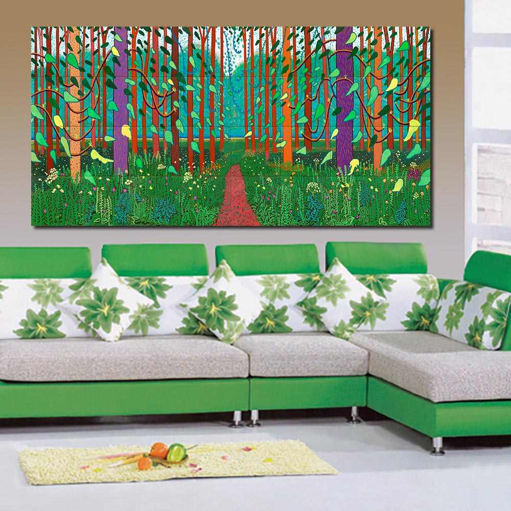 JQHYART David Hockney Arrival Of Spring Canvas Art Paintings For Living Room Wall No Frame Decorative Pictures