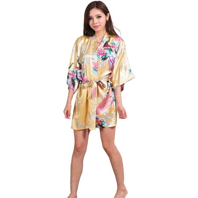 a83dc77ffe29 New Yellow Silk Kimono Robe Bathrobe Women Satin Robe Silk Robes For Women  Night Sexy Robes