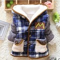 On Sale 2016 Winter new baby boys outerwear warm clothes Plaid Hooded Warm Outerwear kids down coat A301
