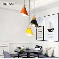 Luzes Lâmpadas moderno Pingente De Madeira Colorido máscara de lâmpada de ferro Luzes da Sala de Jantar Luminária Luminária Para Iluminação Para Casa