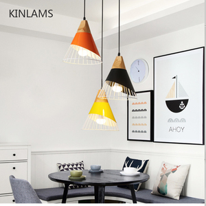 Image 1 - Modern Wood Pendant Lights Lamparas Colorful iron lamp shade Luminaire Dining Room Lights Pendant Lamp For Home Lighting