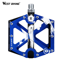 WEST BIKING 3 Bearings Ultralight Bicycle Pedals Anti Slip Aluminum Alloy Pedal Hollow Out Large Area