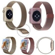 1:1 Hebilla Magnética Pulsera Milanese Lazo correas de reloj Correa de Reloj banda de Acero Inoxidable para apple watch38mm42mm café Negro 9 Color