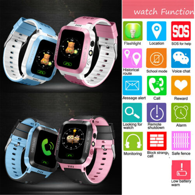 Children Kids Smart Watch LBS Positioning Tracker Not GPS SOS Call Safe Anti-lost Monitor Touch Screen Phone Watch Lovely Gift 4