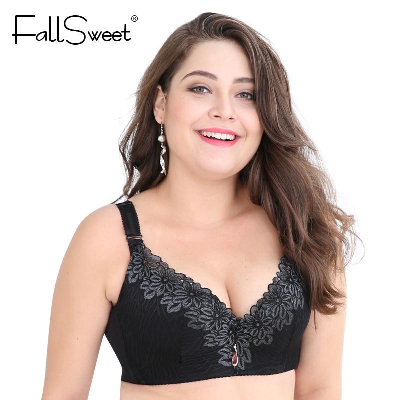 b55915045b735 FallSweet D E cup Lace Push Up bra for Plus Size Women 44 46 48 50 Women  Large Cup Bras Brassiere