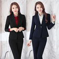 Plus Size 4XL Uniform Design Professional Business Suits With Jackets And Pants Autumn Winter Female Pantsuits Trousers Set