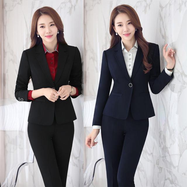 Plus Size 4XL Uniforme Design Professional Business Suits Com Jaquetas E Calças Outono Inverno Calças Conjunto Feminino Pantsuits