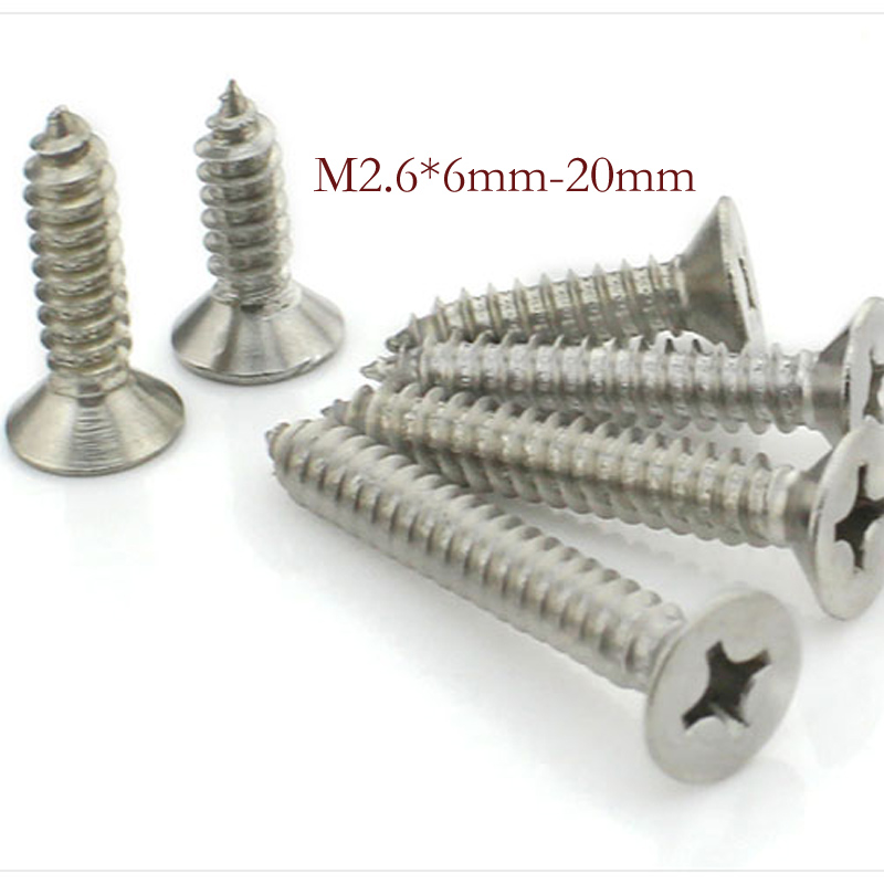 50pcs / lot,Countersunk head tapping screws M2.6* 6/8/10/12/16/20mm, 304 stainless steel screws, free delivery niko 50pcs chrome single coil pickup screws