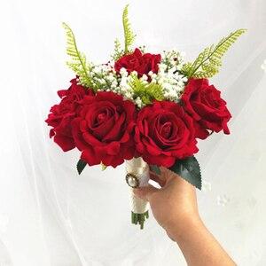 Image 2 - SexeMara boda Borgoña franela Rosa flor para novia boda novia rosa de dama de honor accesorios de fotografía de boda 10colourRr