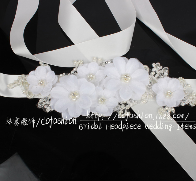 Flower Belts For Wedding Dresses: Aliexpress.com : Buy Wholesale Luxury White Lace Flower