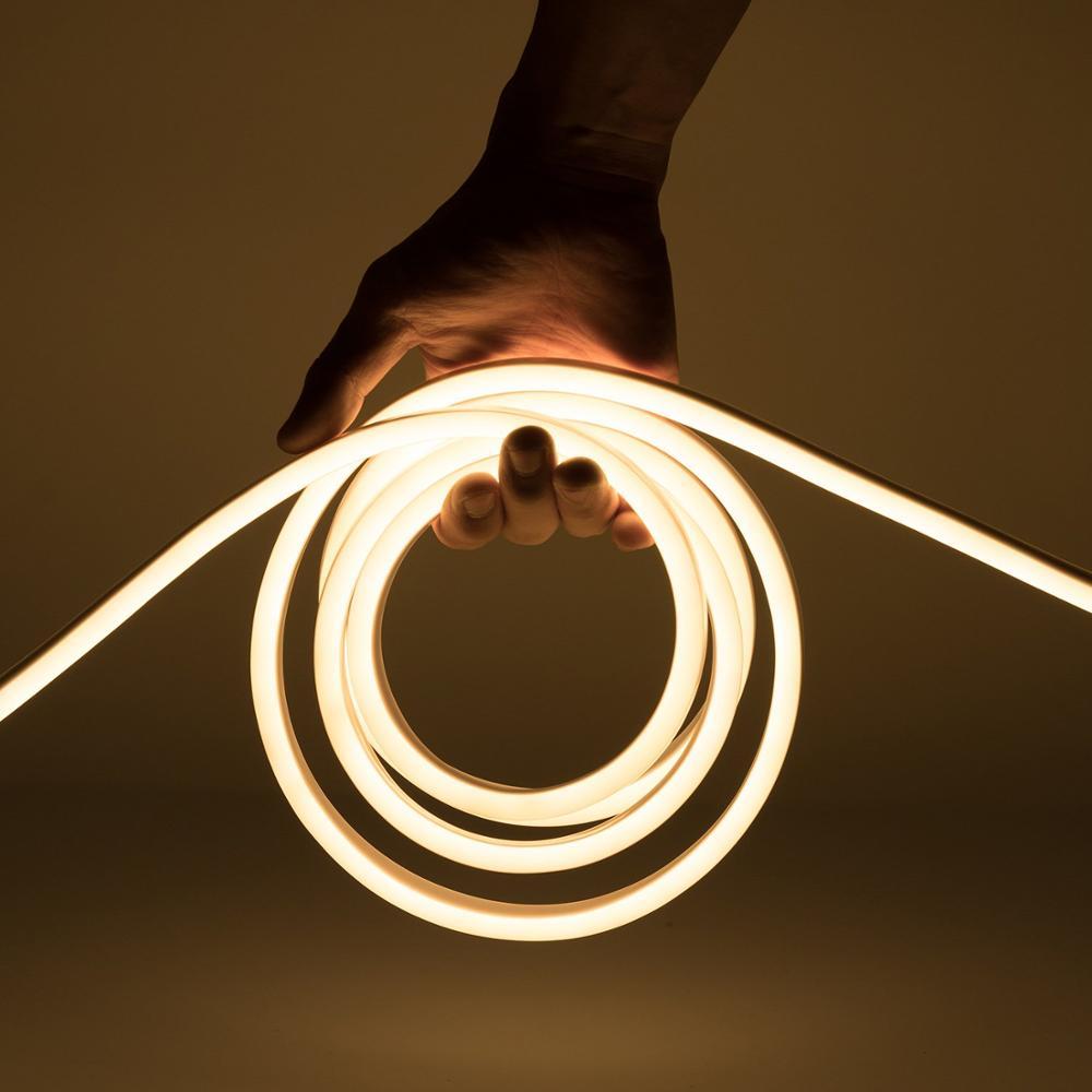 Tira de luz de neón LED CA 220V 230V 240V 2835 SMD tubo Flexible tira de neón 120 leds/M IP68 para iluminación decorativa de interior y exterior RGB luz de neón cinta Flexible signo de LED neón lámpara de luz nocturna 2835 5050 120LEDs/m tira de LED remoto 24Key 110V 220V