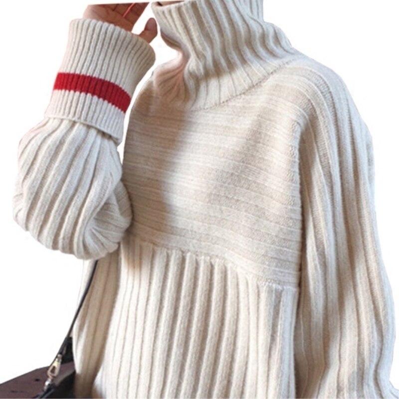 Tricot Nouveau De Casual Femmes Chandail Confortable Haute Meilleur Et Vente D'hiver Chaud Meter Automne Blue Lâche En Pull Cachemire dark Modèles Laine gris White cou qp5tvw4xn