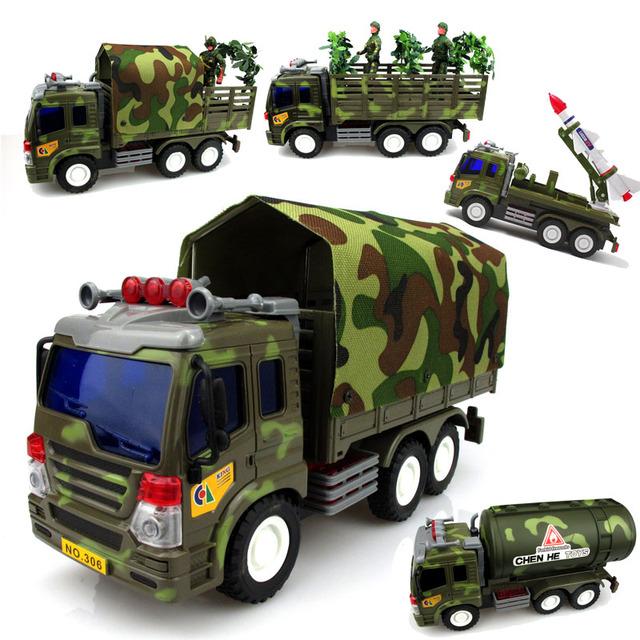 Fundición A Presión de Mini ABS Material Delicado Inercia Coche de Juguete Modelo de Vehículo de Transporte camión Cisterna de Misiles Militares Autorama Regalo bebé 1 unid