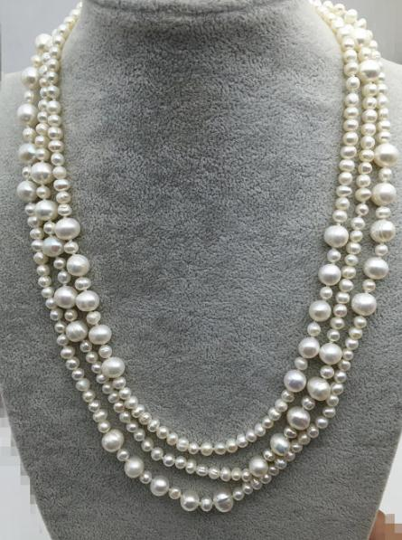 60 inches Long Pearl Jewelry White Color Freshwater Pearl Necklace,AA 5-11MM Genuine Pearl Jewelry,Love,Mothers Day Gift 16 inches aa 10 11mm natural white round freshwater pearl loos strand