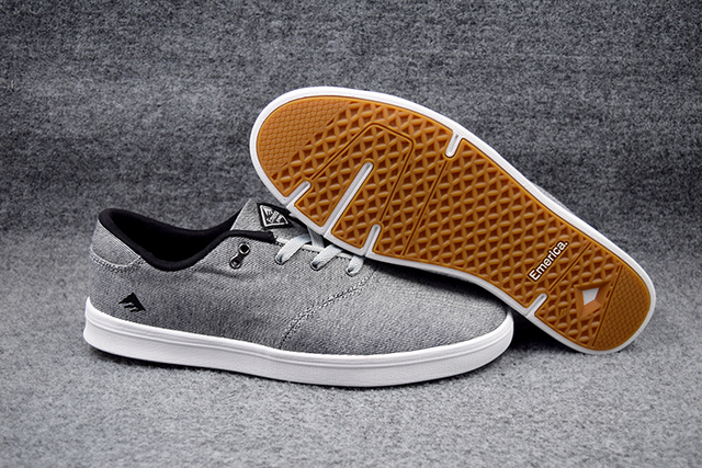 Size 5-11.5 2016 Boys Shoes Emerica THE REYNOLDS CRUISER LT  Light Grey Canvas Hard Wearing Footwear