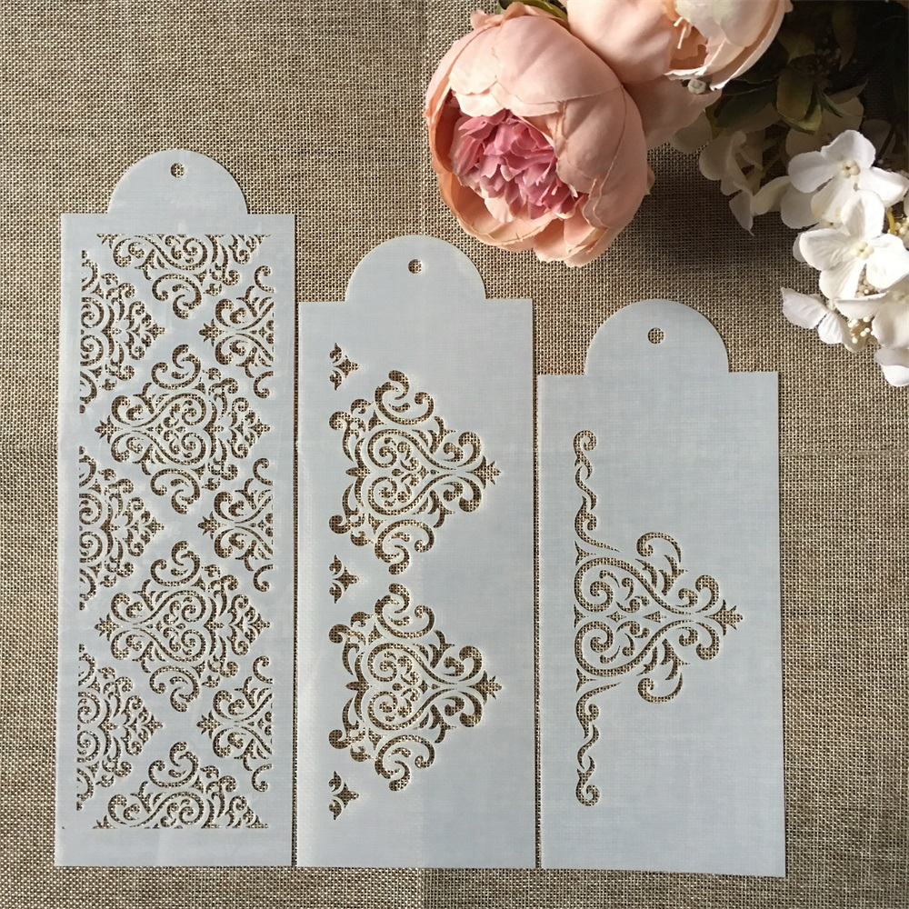 Hot 3Pcs/Set 31cm Flower Texture DIY Layering Stencils Wall Painting Scrapbook Coloring Embossing Album Decorative Template