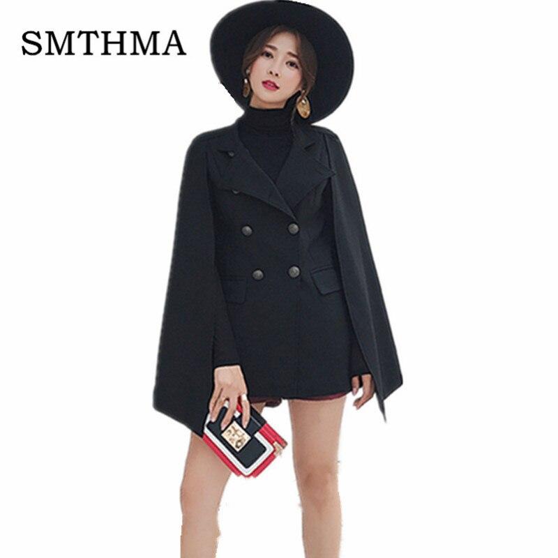 SMTHMA, осенне-зимнее женское пальто, красивый плащ, одноцветное твидовое пончо, Женская свободная теплая верхняя одежда, кашемировое пальто - Цвет: Photo Color