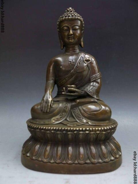 """الشحن مجانا العتيقة 9 """"البوذية معبد النحاس النحاس والبرونز منحوتة أدوات الطبخ الديكور بوديساتفا تمثال بوذا ساكياموني"""