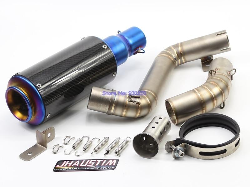 JHAUSTIM for KTM Duke 200/390 Exhaust Muffler and Link Pipe Set Motorbike Carbon Fiber Mufferl Exhaust Pipe Set Escape DB Killer