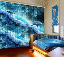 3D Curtain Home Room Decoration White Waves Dolphins Motorized Decorative Door Custom All Sizes Beautiful Photo