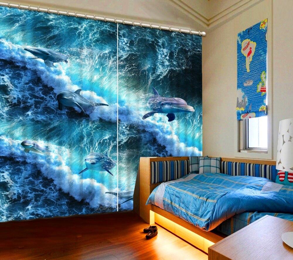 3D rideau maison chambre décoration vagues blanches dauphins rideau motorisé décoratif porte rideau personnalisé toutes les tailles belle Photo