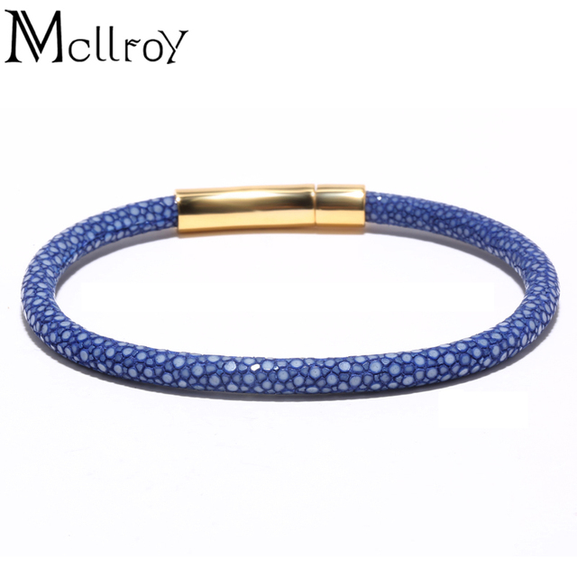 Mcllroy Men Orange Black Blue Stingray Bracelet 100 Genuine High End Quality