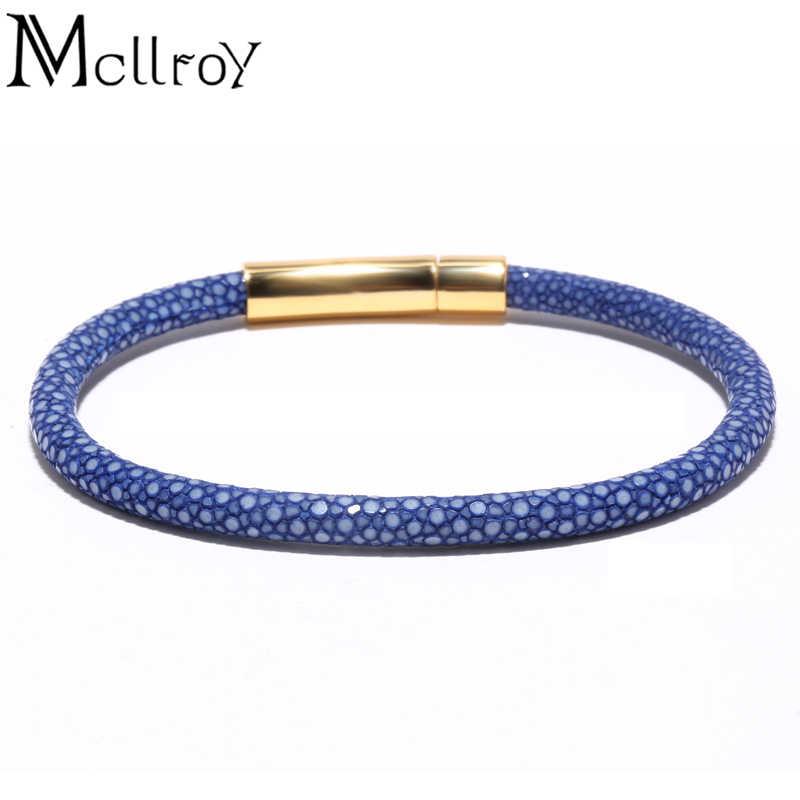 Mcllroy mężczyźni pomarańczowy czarny niebieski Stingray bransoletka, 100% prawdziwej skóry wysokiej klasy jakości bransoletka, niestandardowe męskie ręcznie zawijane bransoletki