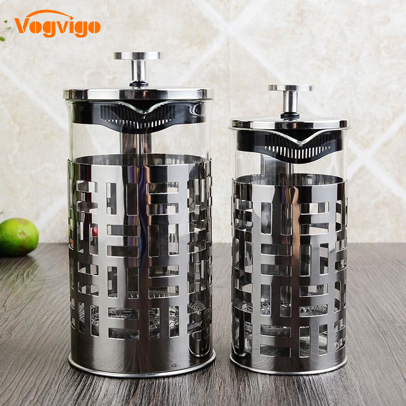 VOGVIGO New Stainless Steel French Coffee Press Pot Coffee Plunger Tea Infuser Maker with Filter Glass Drinkware 350/600/1000ml