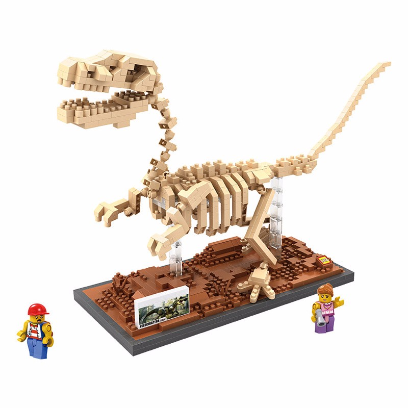 New LOZ Creator Mini Diamond Building Block Jurassic Dinosaur World Velociraptor Fossil Nanoblock Model for Kids Educational Toy loz mini diamond building block world famous architecture nanoblock easter island moai portrait stone model educational toys