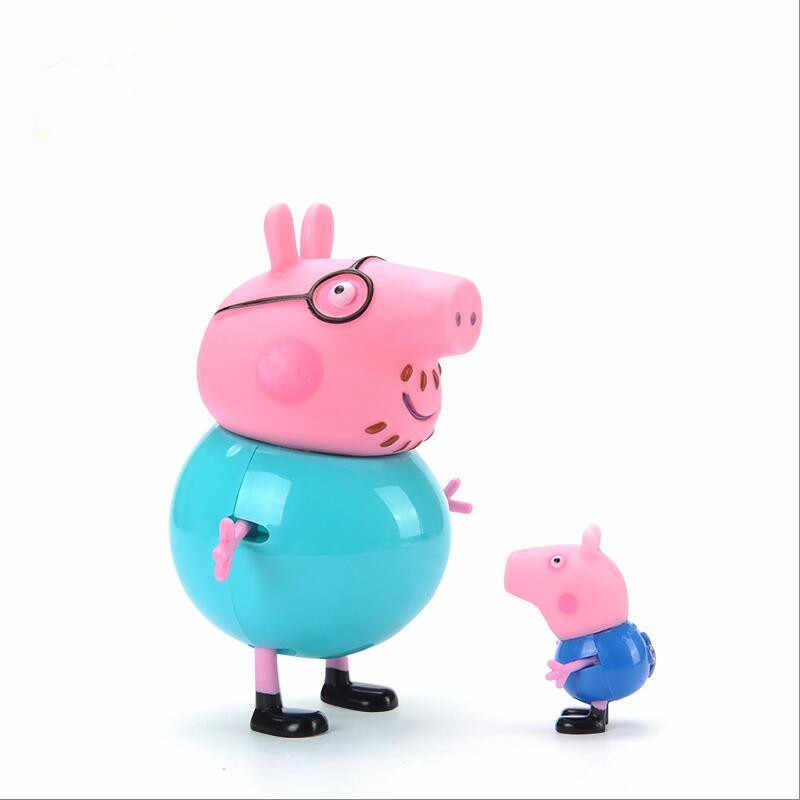 Peppa pig George porco da guiné Family Pack Mãe Pai Figura de Ação Original Cartton Pelucia Anime Brinquedos Para Crianças Presente de Natal