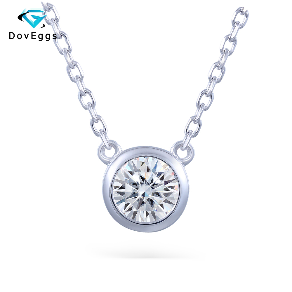 DovEggs Center 1 ct Carat 6.5mm H Color Moissanite Platinum Plated Silver Pendant Necklace for Women Gift OL Style Necklace