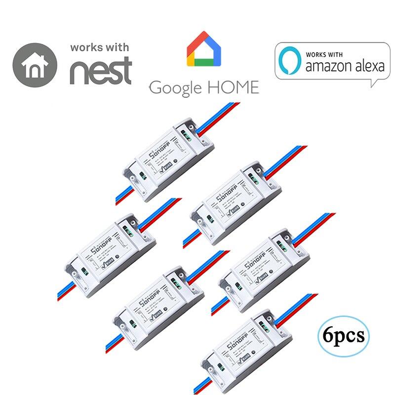 6 pièces Sonoff Basic-WiFi sans fil Smart télécommande ON/OFF Timing bricolage Module commutateur pour MQTT COAP iOS Android commande vocale Smart Home