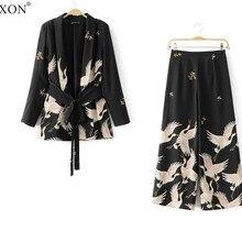 Новинка, женские винтажные комплекты одежды Palazzo, блейзер с принтом крана, широкие брюки ретро, женская одежда с принтом птицы, брючный костюм
