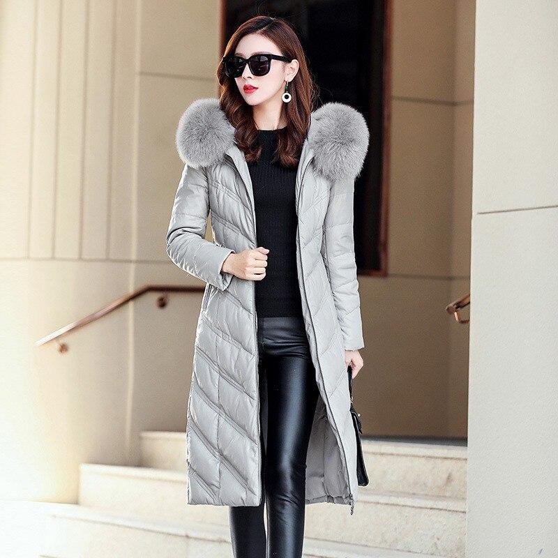 Frauen Mantel Daunenjacke Lange Leder Jacken Plus Dicke Schwarzgrau Echte Gre Fuchspelz Kapuze 5xl Winter Slim Fit Warme Mit zVLSqUpGM