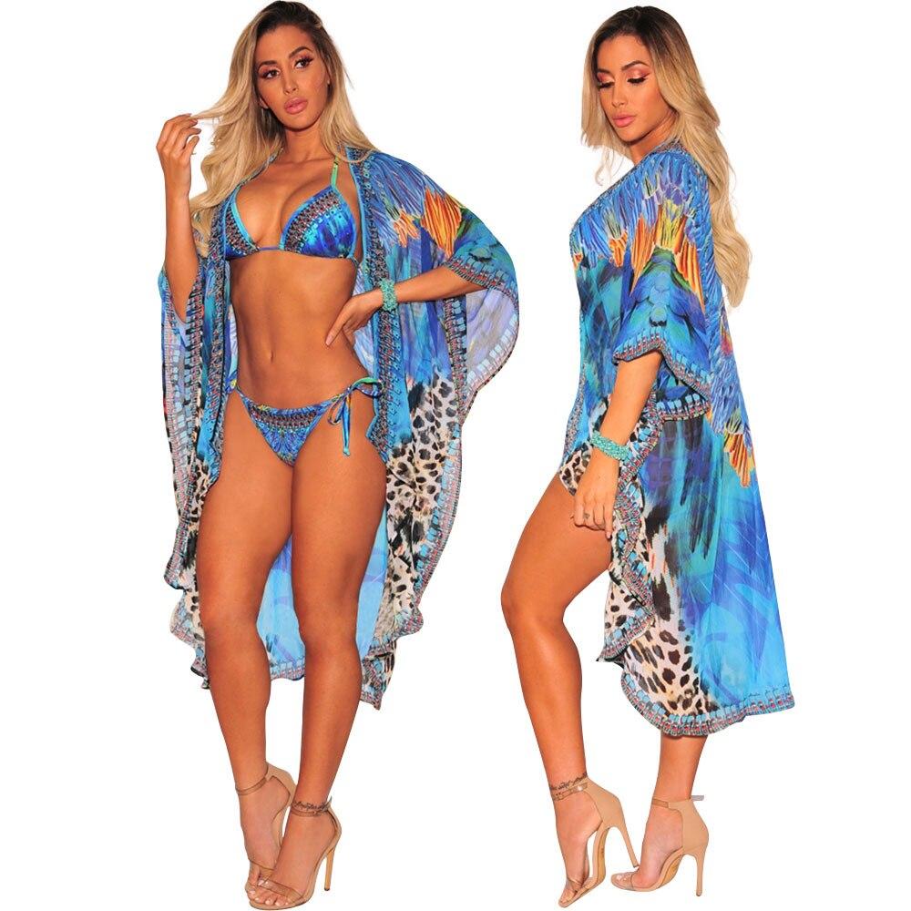 7eaab1eb49c9 3 Pieces Women Swimsuit 2018 Sexy Swimwear Bikini Set + Cover Ups Brazilian  Bandage Thong Cardigan