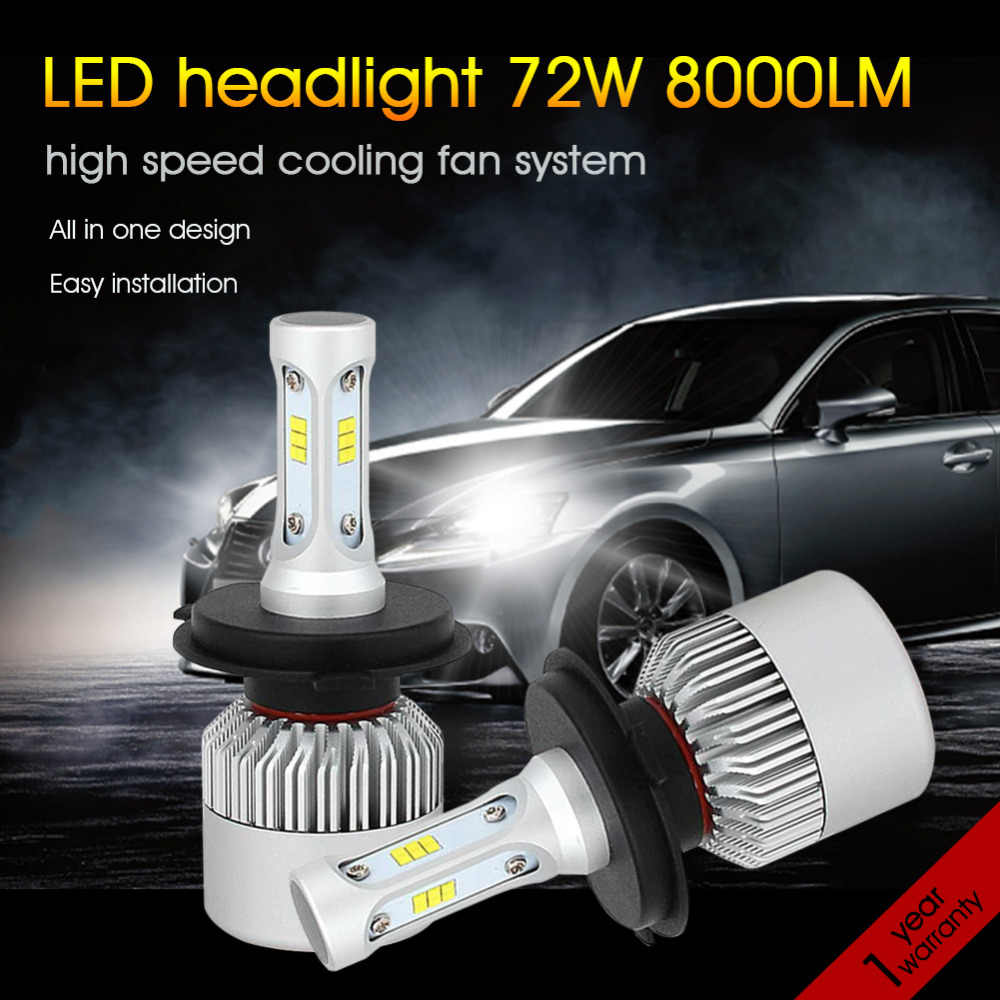 H4 LED Car Headlight Bulbs 72W 8000LM H1 H3 H11 H8 H9 H7 9005 9006 6500K CSP Chips Super Bright Auto Lights Conversion kit