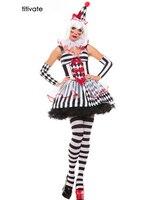 Наряжать Хэллоуин покер взрослый костюм цирк Для женщин клоун Косплэй Queen девушка клоун партии решетки нарядное платье принцессы форма