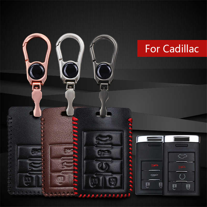 New! Genuine Leather Men Car Key Smart Cover Case For Cadillac Escalade ATS CTS XTS CAR Emblem Key ring Key Case holder