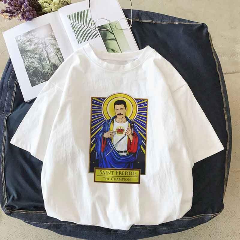 Freddie Mercury Fiction Saint Mia Saint Jules t shirt Catholicism Womens clothing Pulp Female casual Harajuku women Tee Shirt(China)