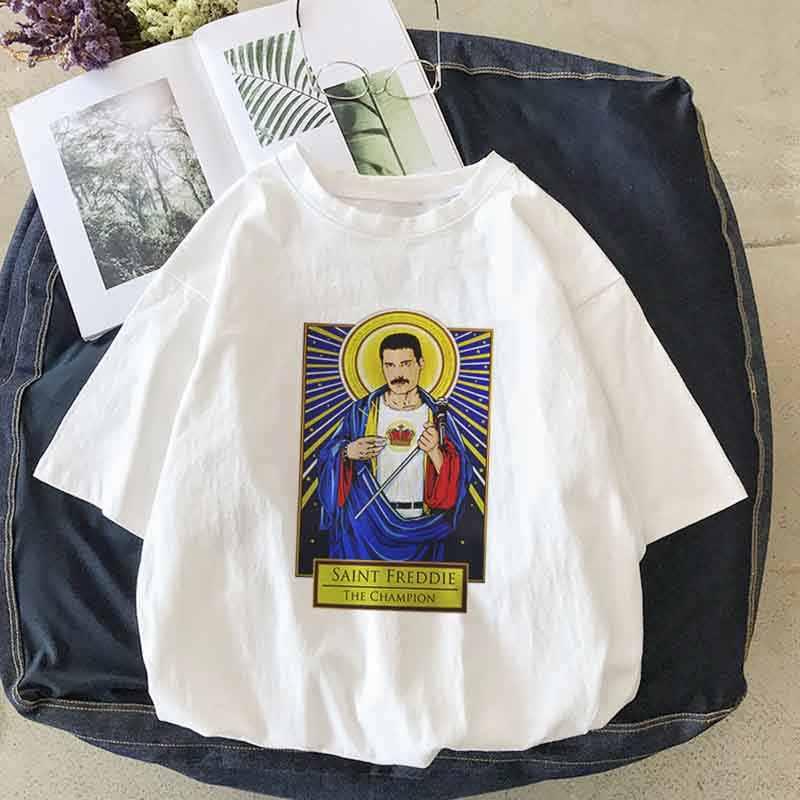 Фредди Меркьюри фантастика св. Мия св. Джулс футболка католицистская женская одежда целлюлоза Женская Повседневная Harajuku женская футболка