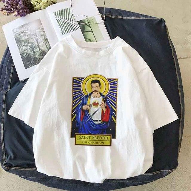 ff4afc94e5cd Freddie Mercury Fiction Saint Mia Saint Jules t shirt Catholicism Womens  clothing Pulp Female casual Harajuku women Tee Shirt