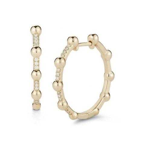 Huggie золотые и серебряные женские серьги кольца с бисером